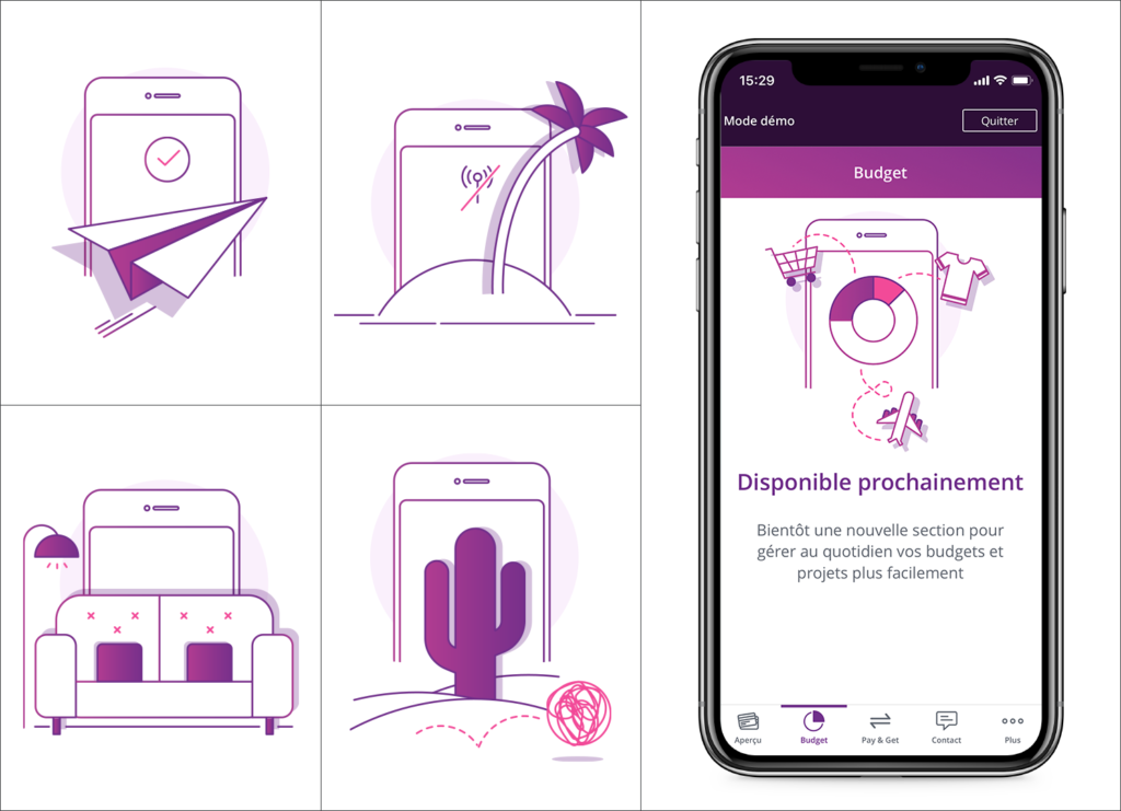 This image shows four illustrations and a mobile device that displays a fifth illustration. Those illustrations has been made to guide the user into an application.