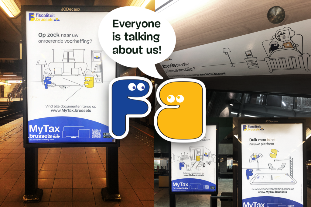 This image shows advertising campaign with four billboards. Above this image the campaign mascotte says: Everyone is talking about us!